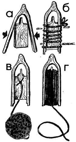Рис. 3. Сборка челнока (а и б) и его заправка бечевкой (в и г)