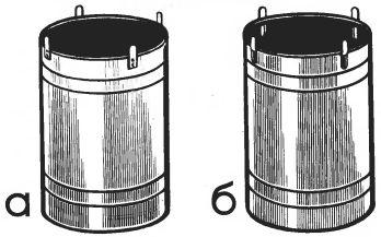 Рис. 2. Бочка с центрирующими приклепанными (а) и отогнутыми (б) язычками