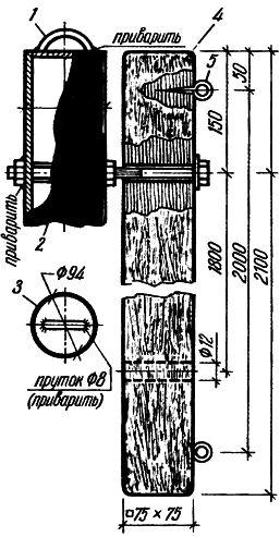 Рис. 2. Соединение бруса с трубок
