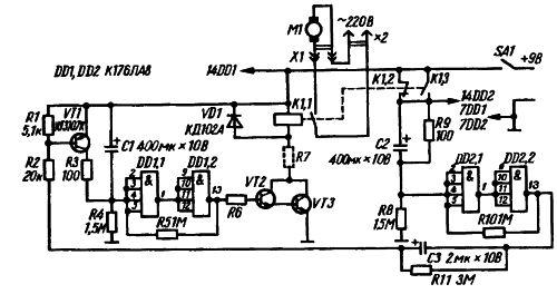 Рис. 1. Схема автомата для периодического включения нагрузки