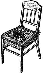 Рис. 1. Крепление сиденья-подстилки на стуле тесемками