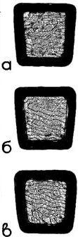 Рис. 2. Крепление мягкого сиденья на вставке стула гвоздиками (а), подшивкой (б) и стягиванием ткани ниткой (в)