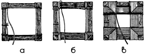Рис. 5. Последовательность заплетения рамки стула шнуром