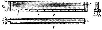 Рис. 4. Потолочная балка (1) с прибитыми черепными брусками (2)