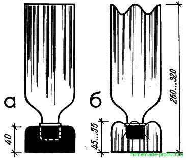 Рис. 6. Вазы из бутылок с дополнительной подставкой (а) и с формованным дном (б)