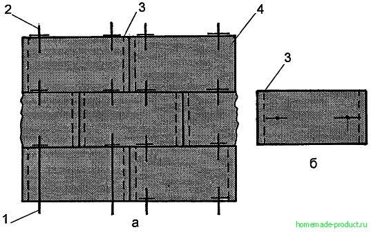 Рис. 1. Варианты крепления тюков в стене