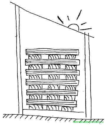 Рис. 6. Сушка клепки в штабеле под навесом