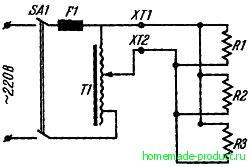 Рис. 2. Принципиальная электрическая схема трансформаторного регулятора напряжения
