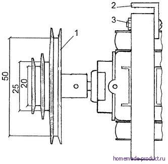 Рис. 5. Двигатель со шкивом и кронштейном
