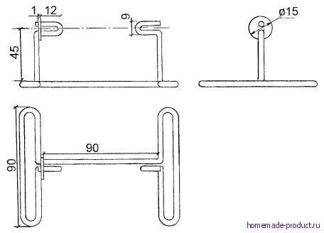 Рис. 12. Подставка для катушки (устанавливается на столе)