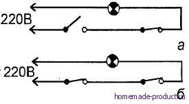 Рис. 1. Электрическая схема включения (а) – выключения (б) освещения лестницы, ведущей в подсобное помещение