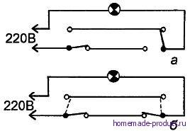 Рис. 2. Электрическая схема для включения (а) – выключения (б) освещения лестницы с двух сторон
