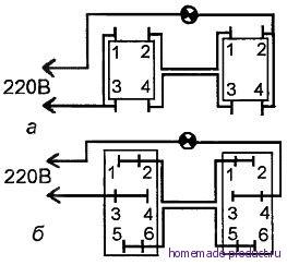 Рис. 3. Подключение проводов к тумблерам схемы включения – выключения освещения с двух сторон