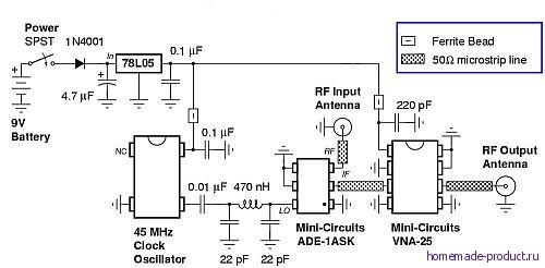 Схема прибора для подавления сигнала мобильных телефонов