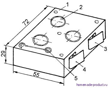 Рис. 5. Устройство источника питания из аккумуляторных элементов (вместо батарейки типа Планета-1)