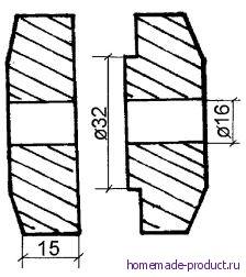 Рис. 6. Шайбы из древесины (для крепления диска пилы на валу из болта)