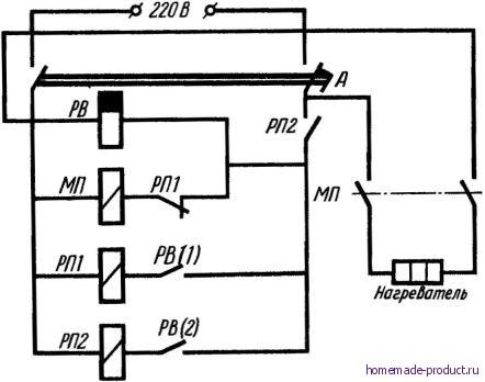 Рис. 2. Электрическая схема управления нагревателем воды с реле времени: РВ - реле времени; А - автоматический...