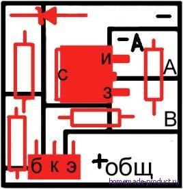 Рисунок 2. Чертеж платы блока контроля АКБ с электронными компонентами
