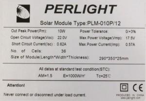 Табличка с параметрами солнечных панелей
