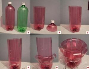 Этапы изготовления вазы из пластиковой бутылки